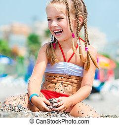bonito, menina, praia, rosto