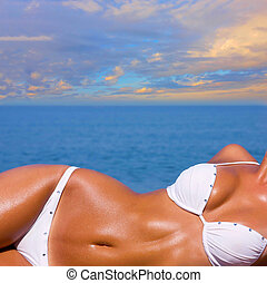 bonito, menina, relaxante, praia