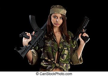 bonito, menina, rifle