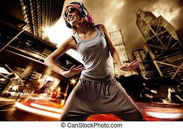 bonito, menina, rua, dançar