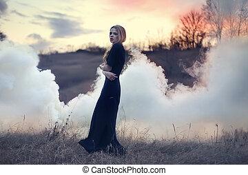 bonito, menina, sensual, fumaça, natureza