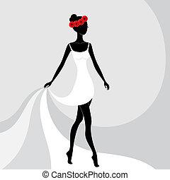 bonito, menina, vestido, branca