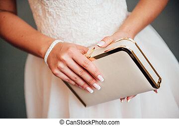 bonito, menina, vestido branco, jovem
