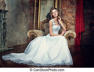 bonito, menina, vestido, jovem, casório