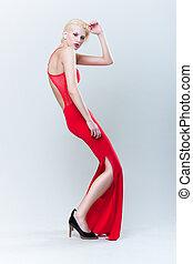 bonito, menina, vestido, vermelho, loura