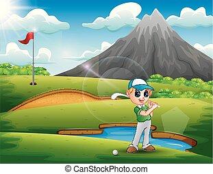 bonito, menino, golfe, tocando, natureza