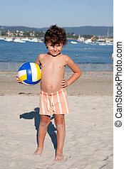 bonito, menino, pequeno, praia