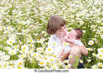 bonito, menino, pequeno, seu, irmã, campo, flor, segurando, margarida, bebê