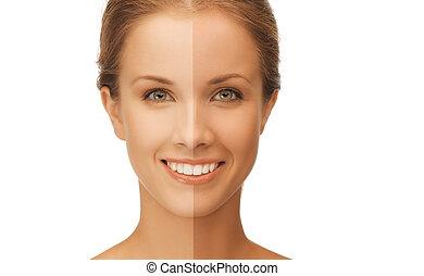 bonito, metade, mulher, bronzeado, rosto