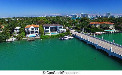 bonito,  Miami, aéreo, vista