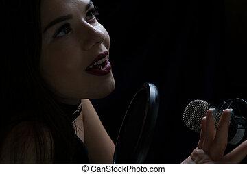 bonito, microfone, estudio registro, menina, cantando