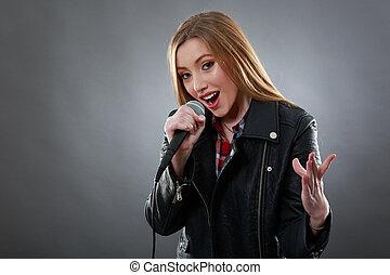 bonito, microfone, mulher, cantando, loiro
