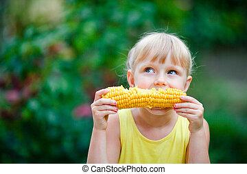 bonito, milho, mordidas, menina, farm.