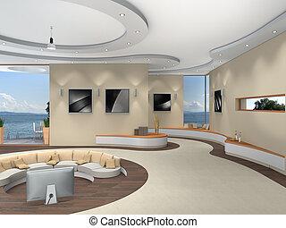bonito, mim, quadro, modernos, -, lago, luxuoso, fotografias, interior, fundo, levado, futurista, vista