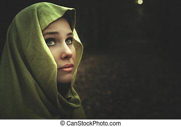 bonito, misteriosa, escuro, retrato mulher, noturna