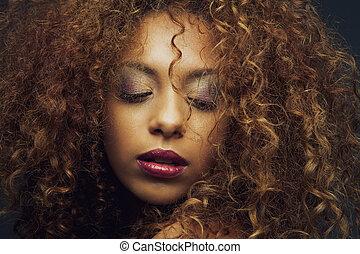 bonito, moda, americano, africano feminino, modelo