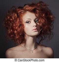bonito, moda, cacheados, portrait., hair., woman.