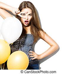 bonito, moda, coloridos, isolado, menina, posar, branca, balões, modelo