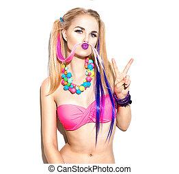 bonito, moda, coloridos, listras, isolado, cabelo, menina, hipster, posar, branca, modelo