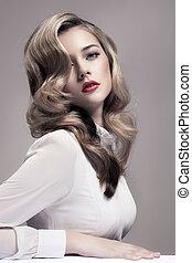 bonito, moda, image., retro, loiro, woman.