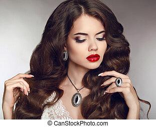 bonito, moda, lábios, sensual, retrato, menina, vermelho
