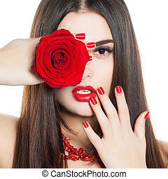 bonito, moda, manicure, beauty., rosto, make-up., woman., mão