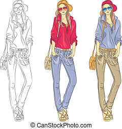 bonito, moda modela, topo, meninas, vetorial, óculos