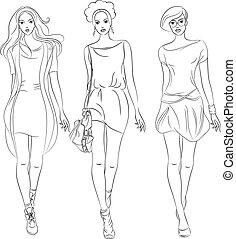 bonito, moda modela, topo, meninas, vetorial, vestidos