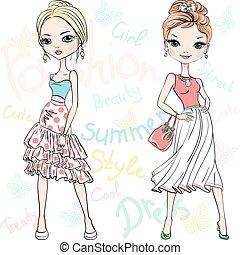 bonito, moda modela, topo, meninas, vetorial