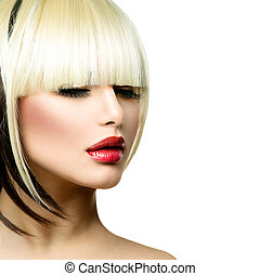 bonito, moda, mulher, penteado, para, shortinho, hair.,...