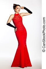 bonito, moda, noiva, pretas, vestido casamento, vermelho, gloves.