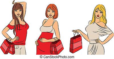 bonito, moda, shopping, meninas