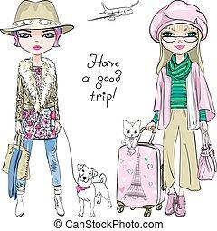 bonito, moda, viagem, meninas, vetorial, mundo