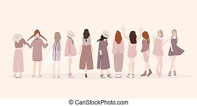 bonito, moda, women., mostrar, senhora, pose, jovem, isolado, clothing., roupa, mulheres