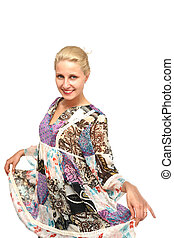bonito, modelo, em, colourfull, vestido