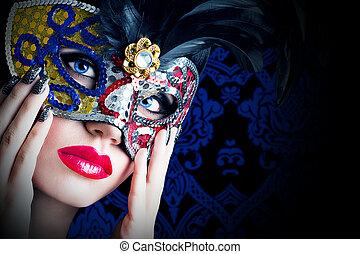 bonito, modelo, em, máscara carnaval, com, lábios vermelhos