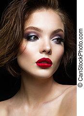 bonito, modelo, lábios, jovem, vermelho