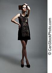 bonito, modelo moda, femininas, glamour, mulher, posar