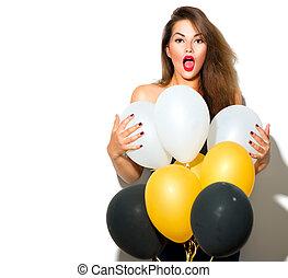 bonito, modelo moda, menina, com, balões coloridos, posar, isolado, branco