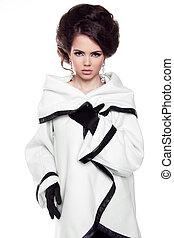 bonito, modelo moda, mulher, senhora, isolado, branco, fundo, posar, em, estúdio