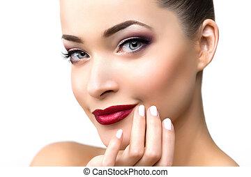 bonito, modelo, mulher, em, salão beleza, maquilagem