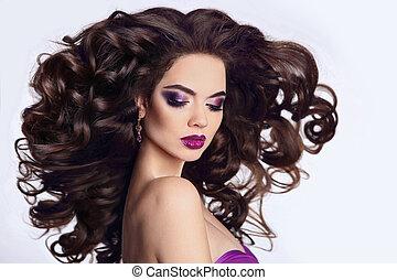 bonito, modelo, sombra, morena, beleza, mulher, saudável, isolado, longo, experiência., luminoso, soprando, portrait., makeup., make-up., hair., branca, menina, penteado, anunciando