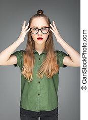 bonito, modelo, spectacled, menina jovem