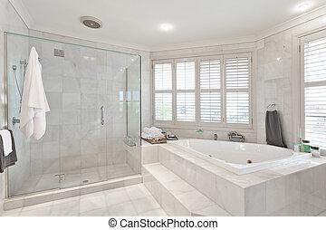 bonito, modernos, banheiro, em, australiano, mansão