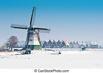 bonito, moinho de vento, Inverno, paisagem