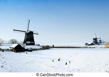 bonito, moinho de vento, paisagem inverno