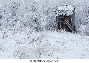 bonito, moinho de vento, Ucrânia, Inverno, paisagem