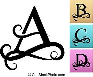 bonito, monogramas, logos., font., filigrana, letra, capital