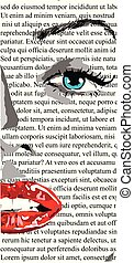 bonito, monroe., mulher, arte, semelhante, clip, rosto, lábios, metade, jornal, menina, branco vermelho