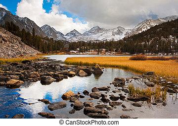 bonito, montanha, espantoso, paisagem, pôr do sol